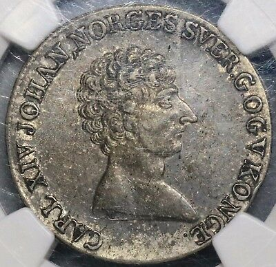 1821 NGC XF 40 NORWAY Silver 1/2 Speciedaler Coin 69k minted (16120301D)