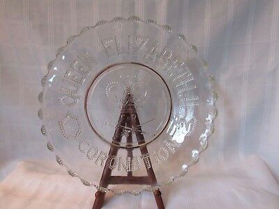 """June 1953 Coronation of Queen Elizabeth clear pressed glass plate dish 10-1/4"""""""