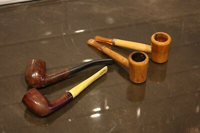 Vintage Lot of 4 Mixed Estate Pipes - Fiji - Briar - Unmarked Hand Made