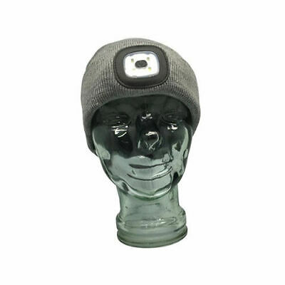 NEW Grey Beanie with rechargeable LED Head Lamp Three Light Modes ST3215