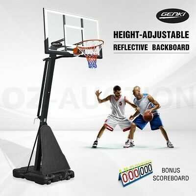 Genki Adjustable 2.45m-3.05m Portable Basketball Hoop System Stand w/Scoreboard