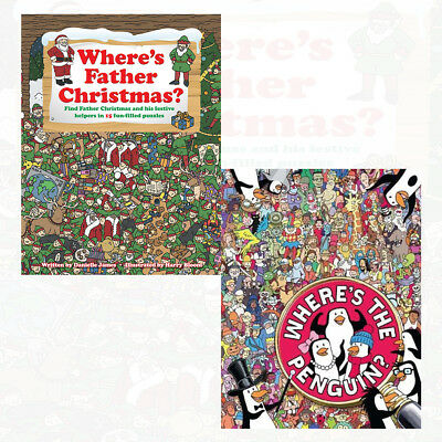 Where's Father Christmas? and Where's The Penguin? 2 Books Collection Set NEW HD