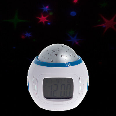 LED Wecker Kinderwecker mit Sternenhimmel Kalender Thermometer Uhr Projektion