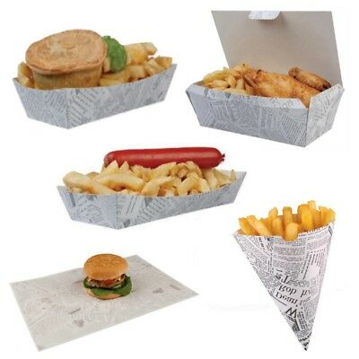 Newsprint Fish & Chips - Fast Food Take Away Disposable Packaging - Select Items