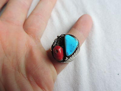 Jewelry Vintage Sterling Silver TURQUOISE & Coral Ring sz 11 (id143)