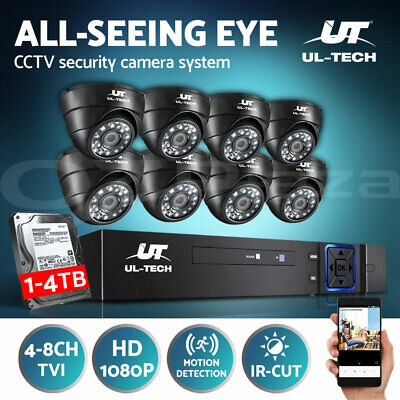 UL-TECH CCTV Security Camera 1080P HDMI 8CH DVR Video Home Outdoor IP System