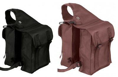 Busse Pack Bag Double Pannier Bag Nylon Saddle Bag Horse Dark Brown Black
