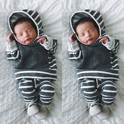 Winter Newborn Infant Baby Boy Girl Striped Hooded Top+Pants Outfit Clothes Set