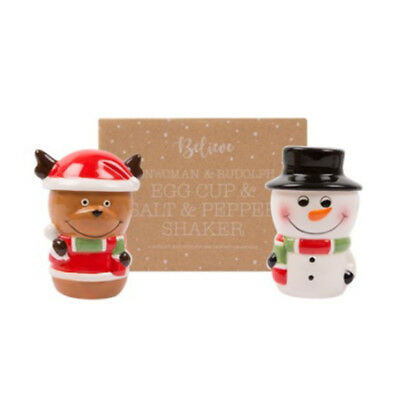 Christmas Snowman & Rudolph EGG Cup & Salt & Pepper Shaker Set Gift Ornament