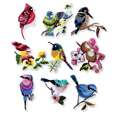 Blue Jay Tit Birds Vintage Iron Sew on Appliques Embroidered Patches Craft