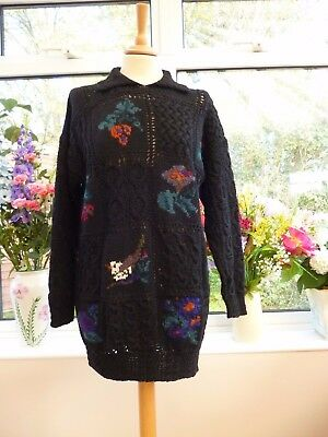 Stunning! Monsoon Hand Knitted Intarsia Black Birds & Floral Chunky Knit Wool M