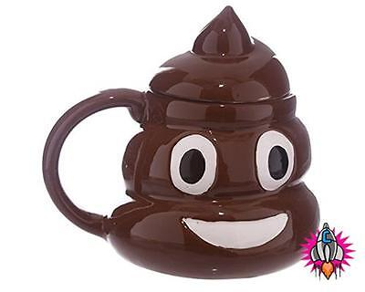 Emoji Emoticon  Poop Poo 3D Style Coffee Mug Cup With Lid New In Gift Box