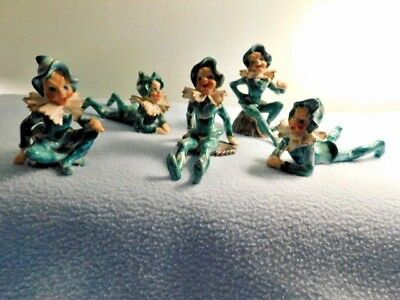 5 Green Christmas Pixie Elves Made In Occupied Japan