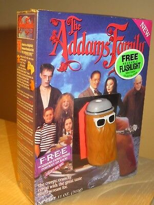 VINTAGE Cereal  BOX 1991 THE ADDAMS FAMILY Full Shrink Wrap COUSIN IT Flashlight