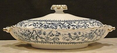 Vintage  Gloucester K & Co Flow Blue Vegetable Covered Tureen