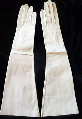 """NEW OLD STOCK Vintage 1950s 16.5"""" WHITE KID LEATHER WOMENS Opera Length GLOVES 6"""