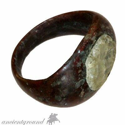 Stunning Roman Bronze Ring With Genuine Glass Stone Circa 100-200 Ad