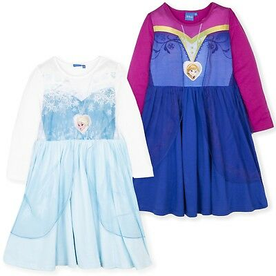 Disney Frozen Girls Long Sleeve Nightdress Nightie Anna Elsa Pyjamas Pjs 3-8 Yrs