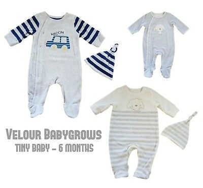 Baby Unisex Boys Girls Velour Babygrow Sleepsuit & Matching Hat Gift Mother/care