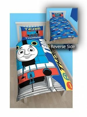 Thomas The Tank Engine 'Team' Reversible Panel Single Bed Duvet Quilt Cover Set