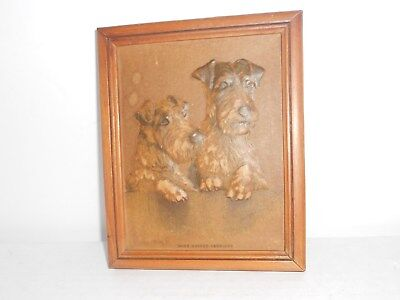 Art Embossed Wire Haired Terriers 3D Framed Picture 1940 Atlas? Vintage