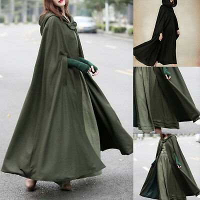 Fashion Women Oversized Hood Pure Color And Elongated Cloak With Hooded Shawl