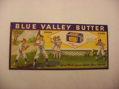 Vtg Advertising  Blotting Paper Blue Valley Creamery Butter Baseball 1934