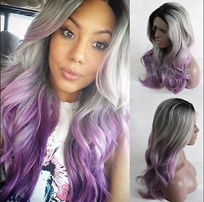 Wig for Black Women Synthetic Long Wavy Ombre Natural Black Silver Grey Purple