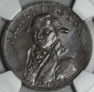 1794 NGC MS 62  Lackington Bookseller Conder 1/2 Penny Middlesex DH354 17042804C