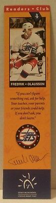 WINNIPEG JETS Readers Club BOOKMARK Hockey BOOKS Education NHL Fredrik Olausson