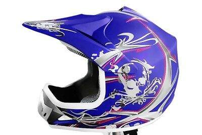 Kinder Cross Helm Kinderhelm Motorradhelm Quadhelm Crosshelm blau