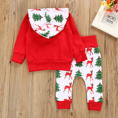 Christmas Deer Toddler Baby Boys Tops Hoodie Pants Home Outfits 2Pcs Set Clothes