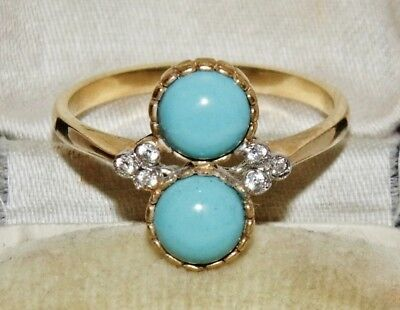 Victorian 9ct Yellow Gold on Silver Natural Turquoise Cocktail Ring - size Q