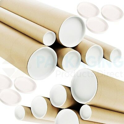 "Quality Postal Tubes A4 A3 A2 A1 A0 / 50mm (2"") and 76mm (3"") / With End Caps"