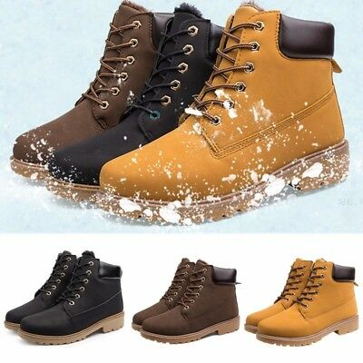 Men High Top Fur Lined Lace Up Winter Warm Snow Chelsea Boots Biker Casual Shoes