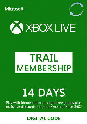 Xbox Live 14 Days Trial Gold Membership Key Xbox One Xbox 360 Subscription Card
