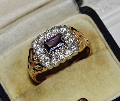 Victorian 9ct Gold on Silver Amethyst Ladies Ornate Cluster Ring - size P