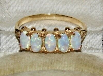Art Nouveau 9ct Yellow Gold on Silver Opal Ladies 5 Stone Eternity Ring - size R