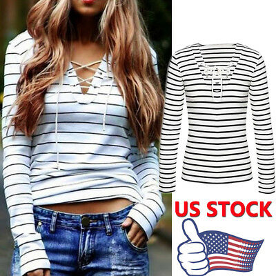 Fashion Women Long Sleeve Casual Tops V Neck Girl Stripe T-Shirt Blouse Pullover