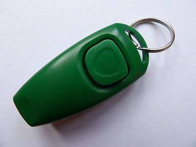Dog Training Clicker With Whistle And Keyring Tag (Brand New) Green