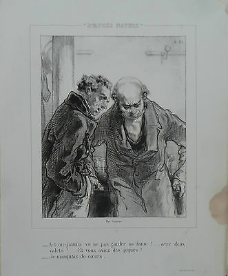 """GAVARNI ENGRAVING LITHOGRAPHY ORIGINAL 19th """"D'AFTER NATURE """" N°3"""