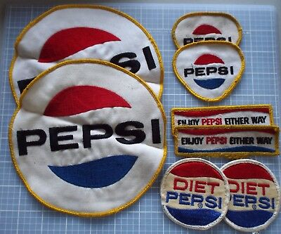 Vintage Pepsi Fabric Patches Lot of 8 Regular Diet Enjoy Pepsi Either Way 1984