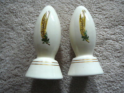 "COORS COLORADO POTTERY - WHEAT DECORATED 4.5"" tall SALT & PEPPER SHAKER SET EUC"
