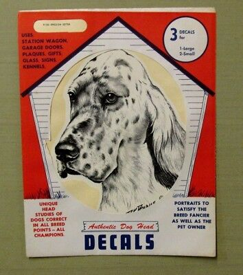 Vintage NOS 1972 ENGLISH SETTER Sticker 3 Decals Dog Pet Supply Imports