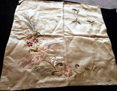 Antique BUTTERFLY FLORAL HAND EMBROIDERED Silk PILLOW Cover Art Nouveau