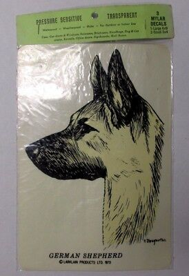 Vintage NOS GERMAN SHEPHERD Transparent Sticker Mylar Decals Larklain dog
