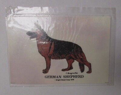 Vintage NOS GERMAN SHEPHERD Transparent Sticker Decals Bright Decal Corp dog