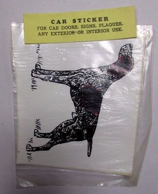 Vintage NOS GERMAN WIREHAIRED POINTER Car Sticker Decals Walnut Miniatures