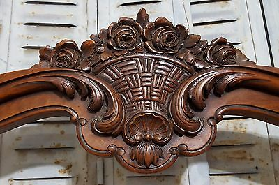 Carved Wood Pediment Antique French Flower Basket Salvaged Mount Cornice Crest