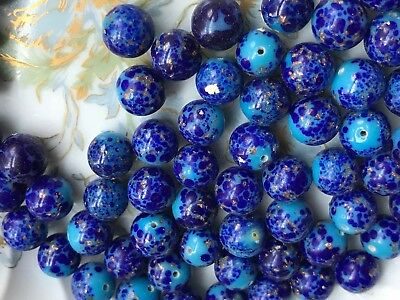 20 Vintage Lapis Lazuli Beads, Half Drilled Beads, One hole Beads, Cobalt #B45